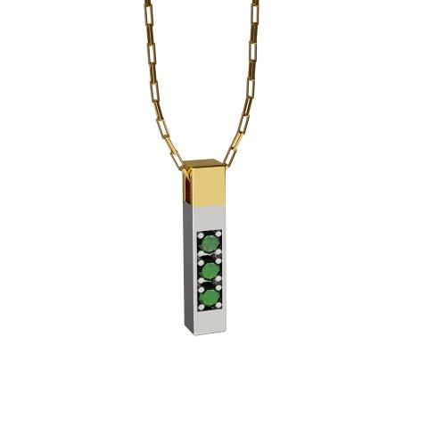 Amuleto Pingente Ouro Amarelo Ouro Branco 18K com pedras de Esmeralda Felipe Aloisi Joalheiro Laroc