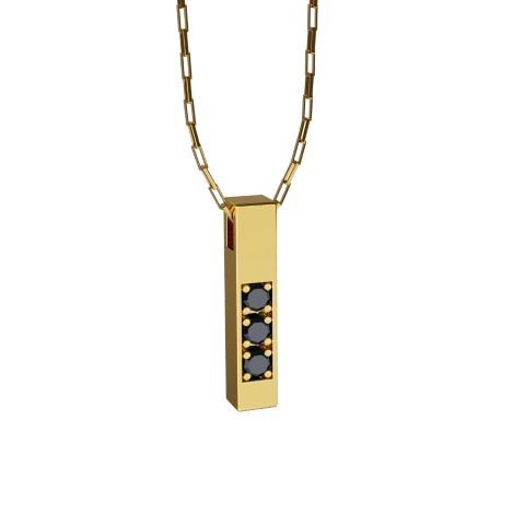 Amuleto Pingente de Ouro Amarelo 18K com pedras de Diamante Negro Felipe Aloisi Joalheiro Laroc