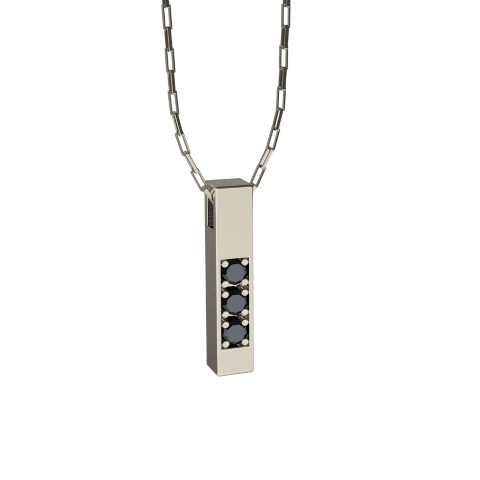 Amuleto Pingente de Ouro Branco 18K com pedras de Diamante Negro Felipe Aloisi Joalheiro Laroc