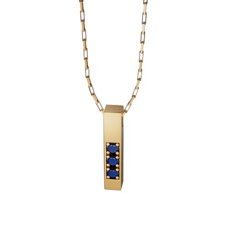 Amuleto Pingente Ouro Amarelo 18K com pedras de Safira Azul