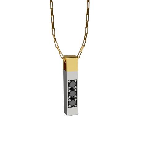 Amuleto Pingente de Ouro Amarelo e Ouro Branco 18K com pedras de Diamante Negro Felipe Aloisi Joalheiro Laroc