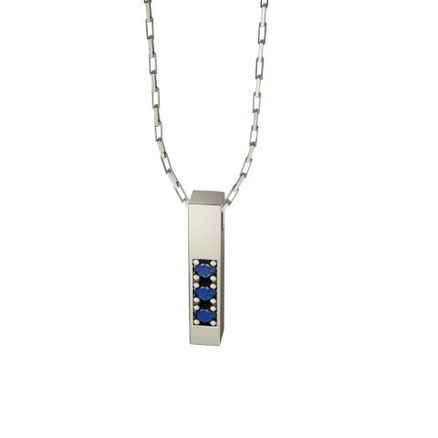 Amuleto Pingente Ouro Branco 18K com pedras de Safira Azul Felipe Aloisi Joalheria Laroc