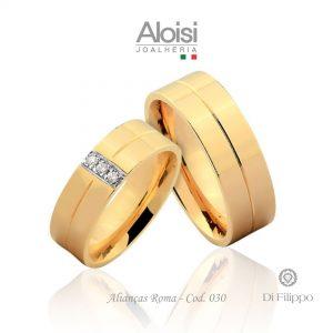Alianças Casamento Ouro Amarelo 18k - Roma -Di Filippo