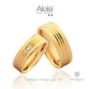 Alianças Casamento Ouro Amarelo 18k - Vicenza - Di Filippo