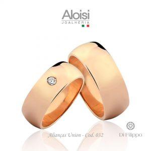 Alianças Casamento Ouro Rosé 18k -Union - Di Filippo